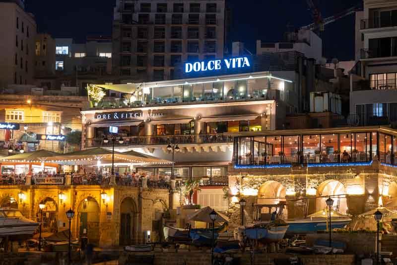 Restaurants and Bars nested around St Julian's Spinola Bay, Malta - living in Malta