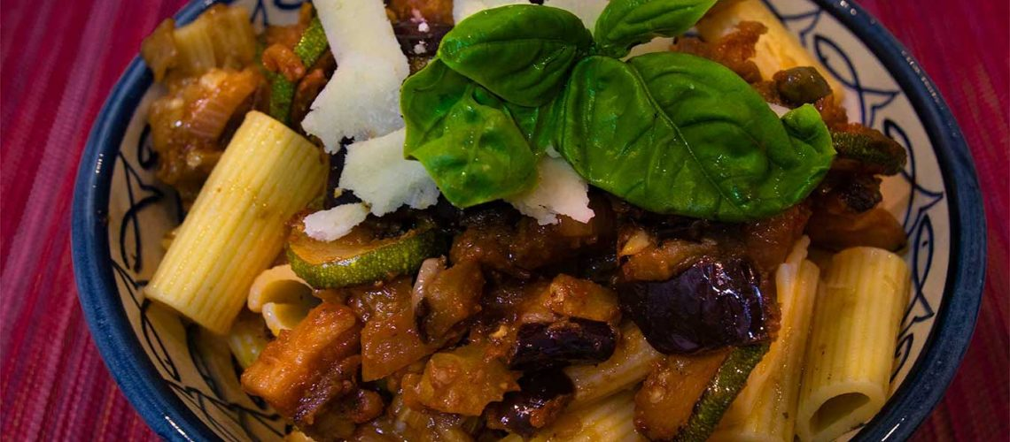 Aubergine, Courgette and red pesto rigatoni
